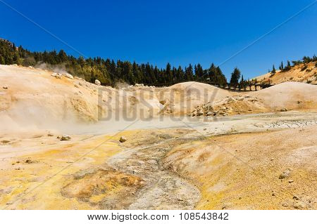 Mount Lassen sulfur springs and mud baths showing large amounts of volcanic action in this National Park
