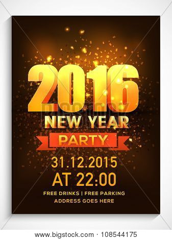 Shiny elegant Flyer, Banner or Pamphlet for Happy New Year's 2016 Eve Party celebration.