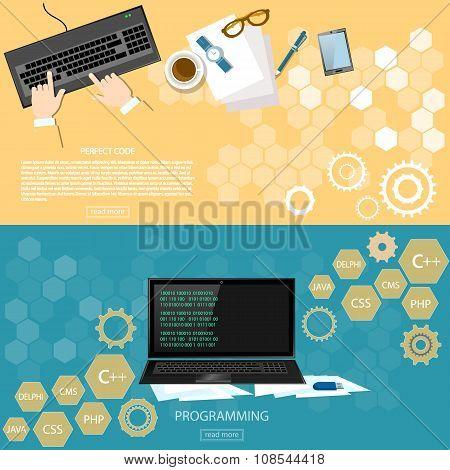 Programming Working Place Desktop Programmer Software Development Code On Laptop Banners