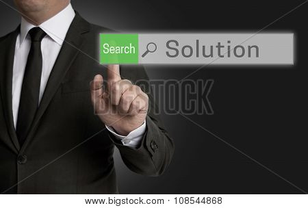 Solution Browser Is Operated By Businessman Concept