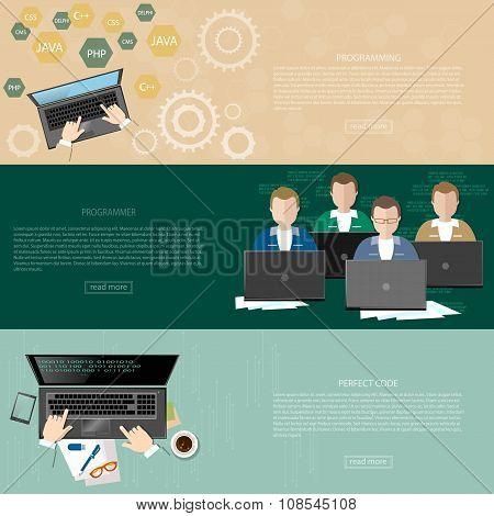 Programming Concept Process Coding Teamwork Desktop Group Of Students Programmers Developer Software