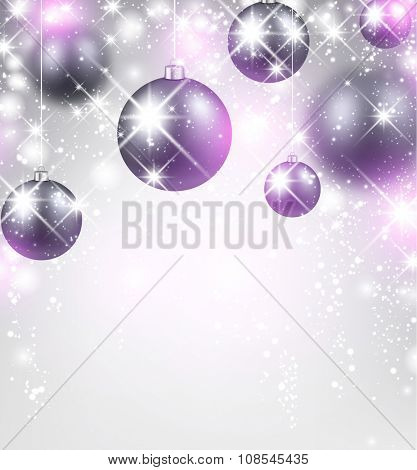 New Year background with purple balls. Vector Illustration.