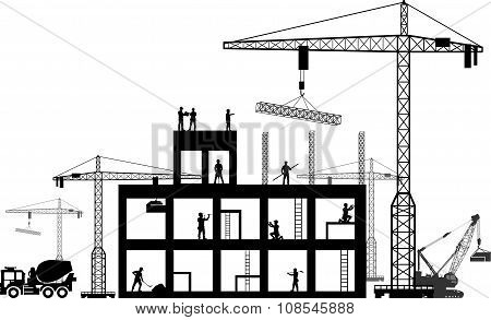 Black background construction icons set on gray