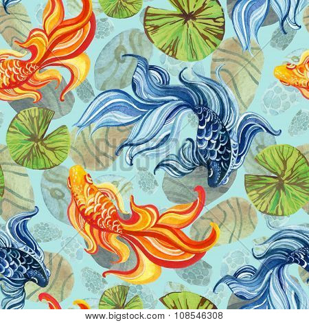 Watercolor Asian Goldfishes