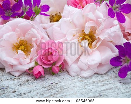 Large Pale Pink And Small Bright Pink Roses And Geranium Bouquet