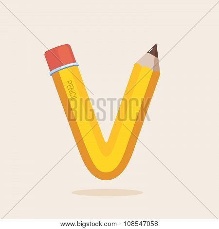 V Letter Formed By Pencil.