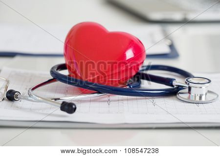 Stethescope And Red Heart Lying On Cardiogram