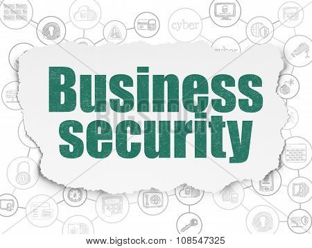 Protection concept: Business Security on Torn Paper background