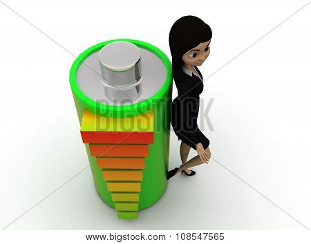3D Woman With Battery And Battery Meter Concept