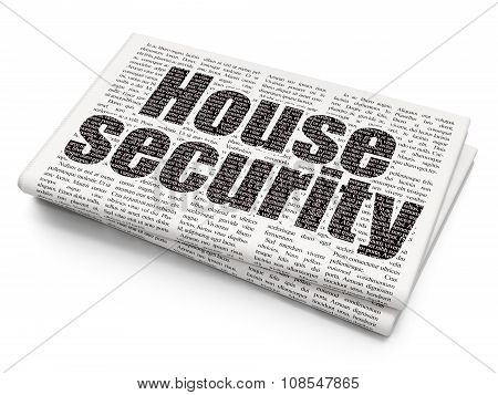 Protection concept: House Security on Newspaper background