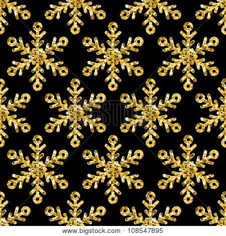 Vector Seamless Holiday Pattern With Golden Glitter Snowflakes.