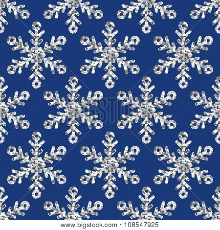Vector Seamless Holiday Pattern With Silver Glitter Snowflakes.