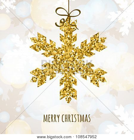 Vector Christmas Or New Year Greeting Card With Golden Glitter Snowflake.
