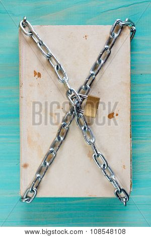 Book Protected With A Chain And Lock