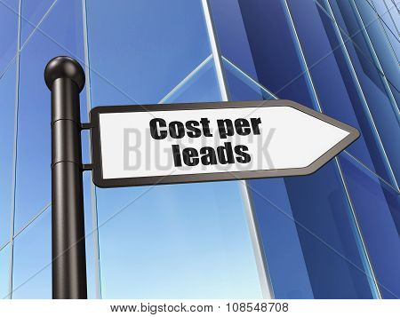 Business concept: sign Cost Per Leads on Building background