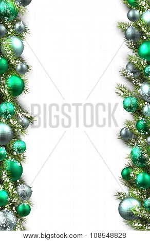 White card with fir branches and balls. Vector illustration.