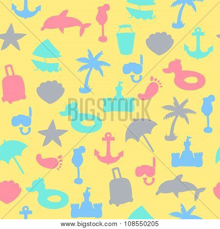 Vector Beach Pattern For Summer.