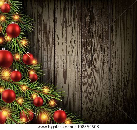 Christmas wooden background with christmas tree. Vector illustration.