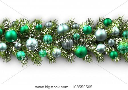 White card with fir branch and balls. Vector paper illustration.
