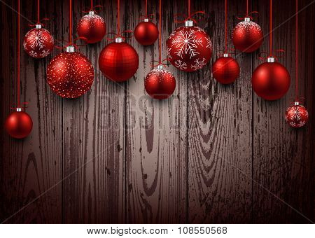 Christmas wooden background with red balls. Vector illustration.