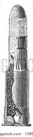 Boxer cartridge, vintage engraved illustration. Industrial encyclopedia E.-O. Lami - 1875.