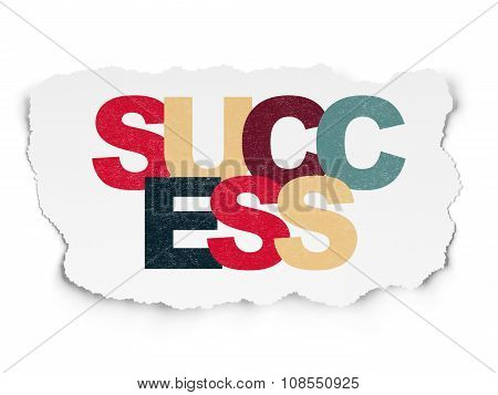 Business concept: Success on Torn Paper background