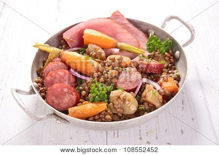 lentils cooked with meat and vegetables