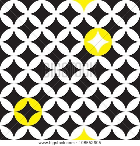 Circle and star black and white seamless pattern
