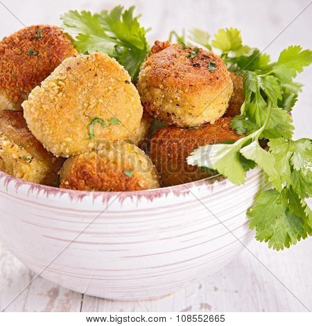 vegetarian ball with chickpea,courgette and herb