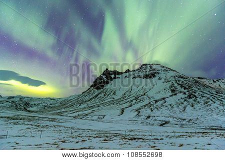 Northern Light Aurora borealis at Vik Iceland