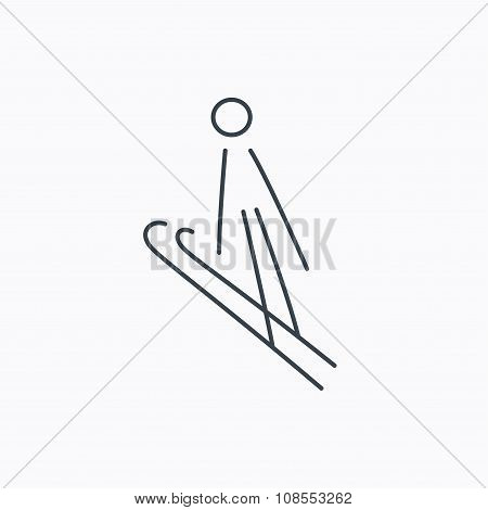 Ski jumping icon. Skis extreme sport sign.