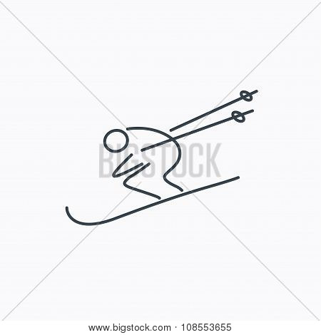 Skiing icon. Skis jumping extreme sport sign.