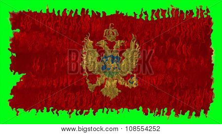 Flag of Montenegro painted with brush on solid background, paint texture