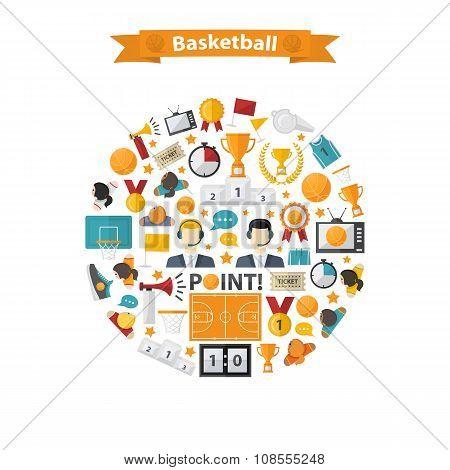 Basketball Icons set in circle