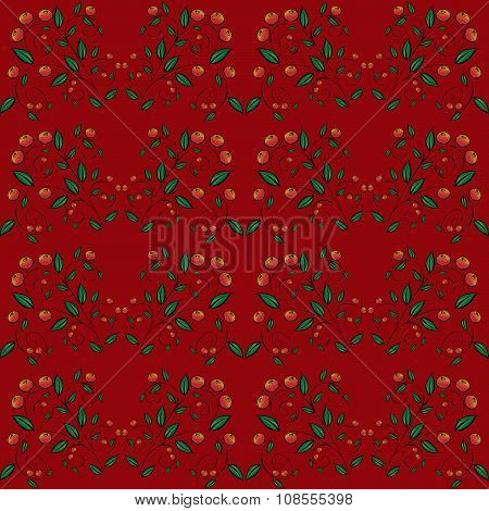 Cranberry currant red berries seamless pattern