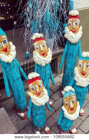 Group Of Handmade Dwarfs As Christmas Decoration
