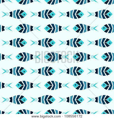 Flock of blue mosaic fish pattern seamless