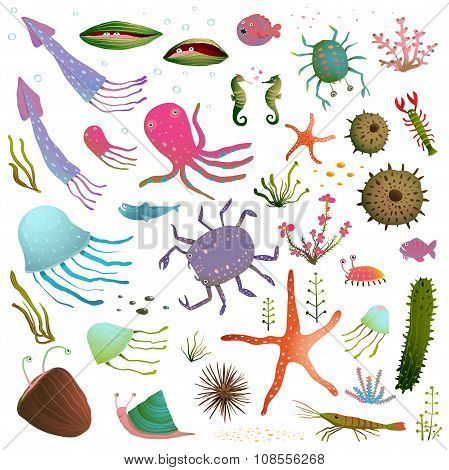 Colorful Sea Life Animals Isolated on White Cartoon Clip Art Collection