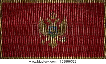 Flag of Montenegro painted on stitch texture
