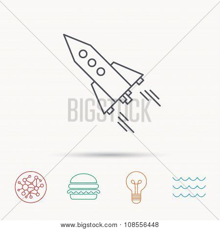 Startup business icon. Rocket sign.