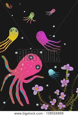 Colorful Octopus on Black Cartoon Greeting Card Design
