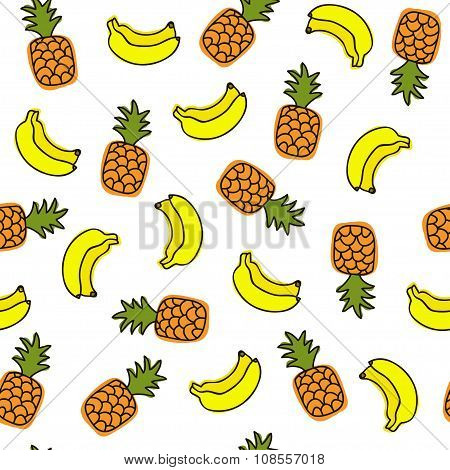Vector Seamless Pattern With Fruits On White Background.