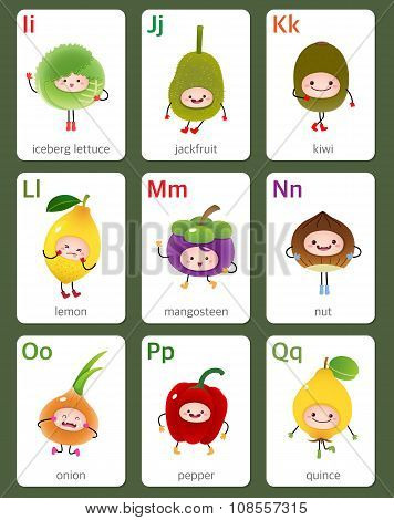 Printable Flashcard English Alphabet From I To Q With Fruits And Vegetables