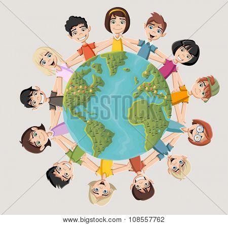 Cute happy cartoon kids around earth planet