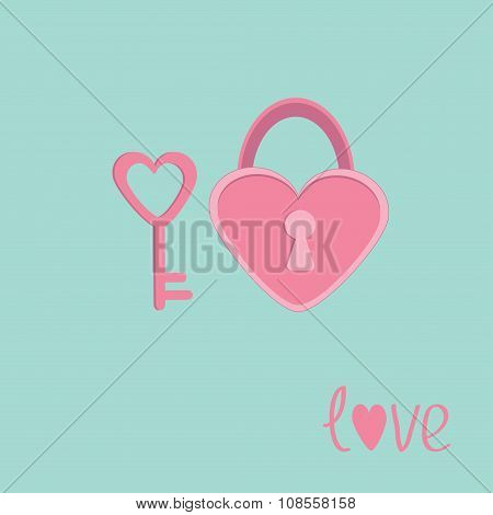 Padlock And Key In Shape Of Heart. Love Card.