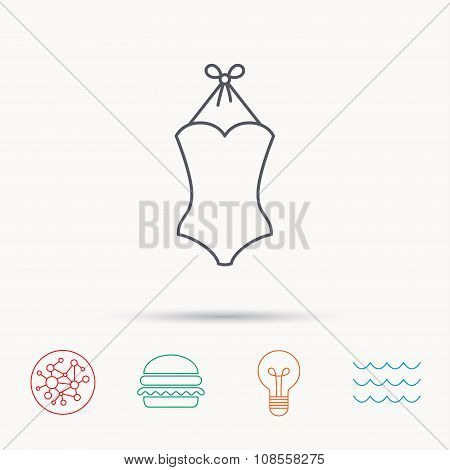 Swimsuit icon. Women swimwear sign.