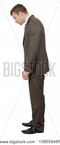 Businessman looking down