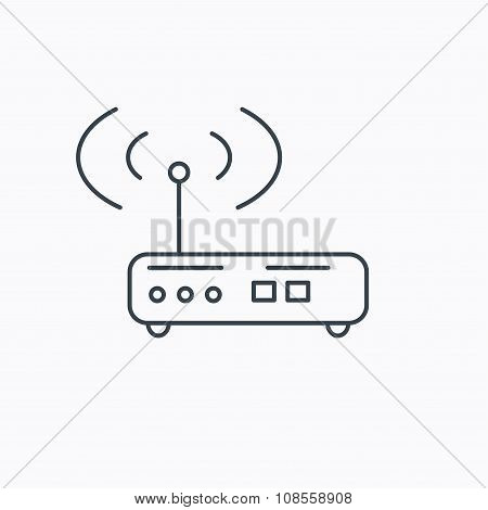 Wi-fi router icon. Wifi wireless internet sign.