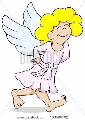 Cartoon Angel Is Walking Satisfied