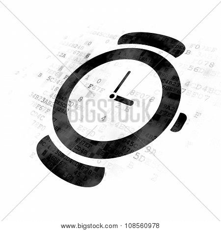 Time concept: Hand Watch on Digital background